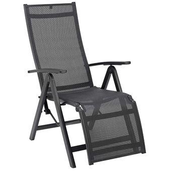chaise longue relax en aluminiumtextile coloris anthracite dim l58 x p815 x h110 cm pegane mobilier de jardin achat prix fnac - Chaise Longue Relax
