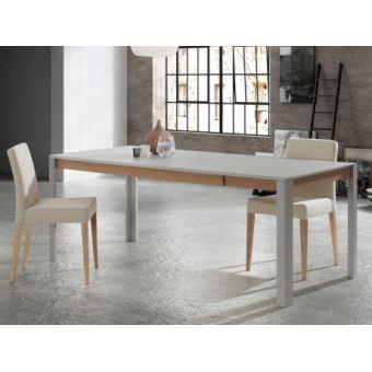 Table à Manger Extensible Leandre 6 à 8 Couverts Mdf Laqué Coloris Gris Chêne
