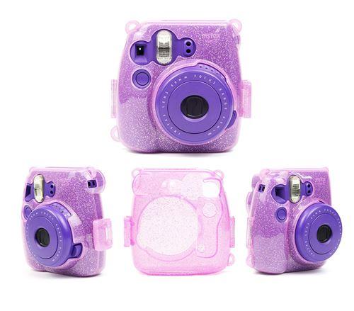 Étui de protection antichoc transparent brillant pour Fujifilm Instax Mini 8/ 8+/ 9 - Violet