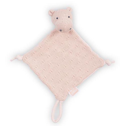 Doudou pour bébé avec attache sucette Soft Knit Hippo - Pêche