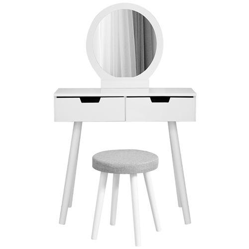 Coiffeuse meuble avec miroir, tabouret et 2 tiroirs, en MDF et bois de pin , blanc HOMBUY