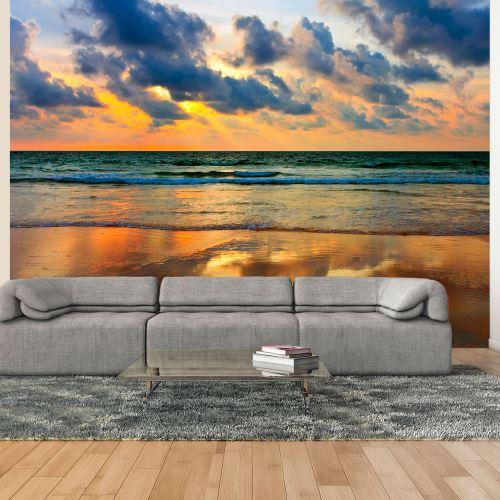 Papier peint - Coucher de soleil coloré sur la mer - Décoration, image, art   Paysages   Levers et couchers de soleil  