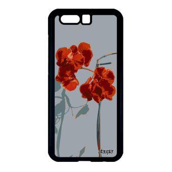 Coque Honor 9 Silicone Orchidée Fleur Floral Dessin Rouge