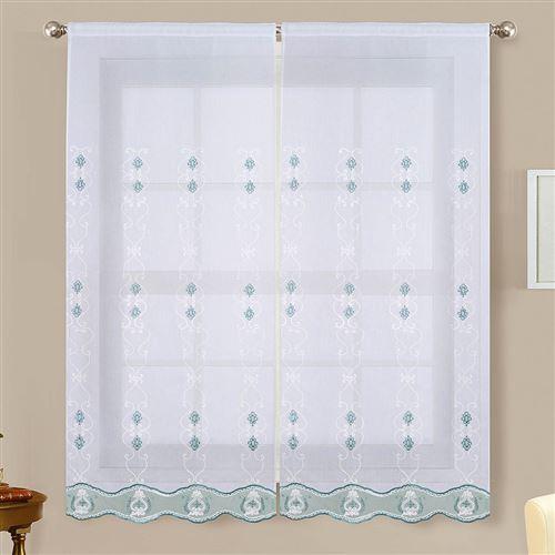 Paire de vitrages brillants - turquoise - 2x60x120cm