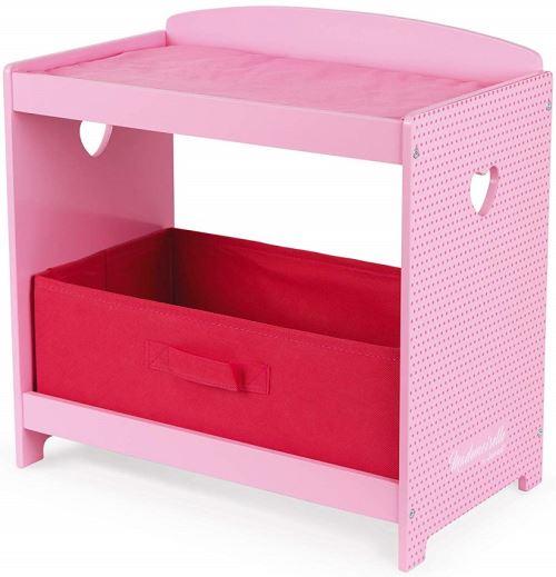 Table a langer rose en bois mademoiselle avec tiroir et matelas - janod accessoire poupee