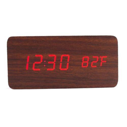 Commande Vocale Calendrier Thermomètre Numérique Led Alarme Horloge en Bois Usb / Aaa Café PL197