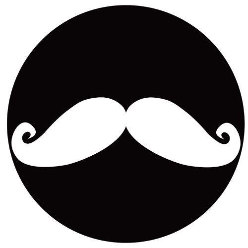 Set de 4 dessous de verres ronds Moustache blanche by Cbkreation