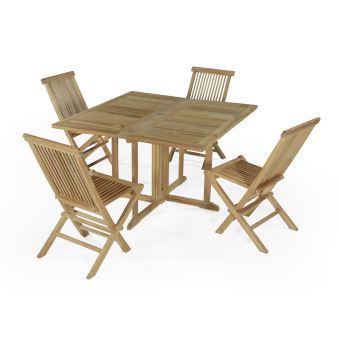137€ sur Salon de jardin en teck Ecograde Papeete, table pliante ...