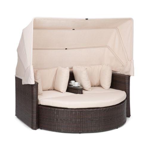Blumfeldt Heartland Canapé lounge de jardin 2 places avec tabouret , table & parasol pliable , charge 160kg - Polyrotin - Ecru