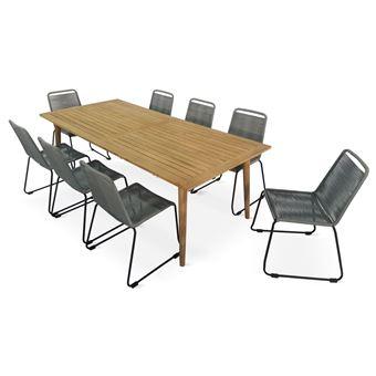 Salon de jardin en bois et corde 8 places RIO - Naturel / Gris clair, Table  en bois brossé 220cm + 8 chaises