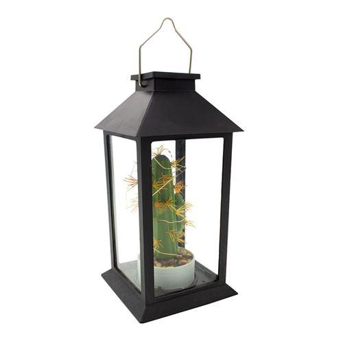 Lanterne végétale solaire PABLO noir verre H35cm
