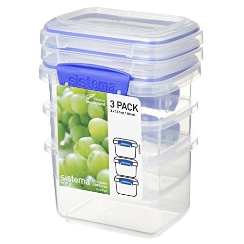 Sistema lot de 3 boîtes alimentaires rectangulaires a clips - 400ml 1543