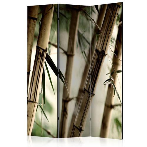 Paravent 3 volets panneaux cloison séparateur de pièce pliable recto verso Forêt de brouillard et de bambous 135x172 cm PAR110353