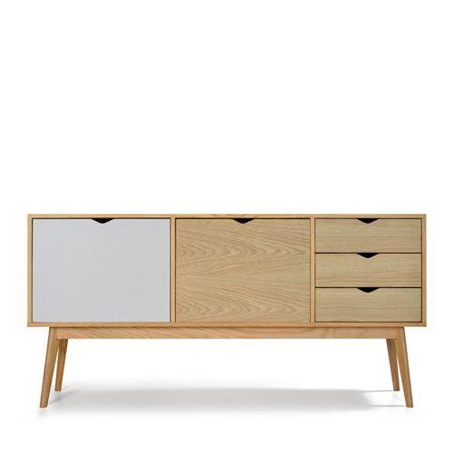 Buffet design 2 portes 3 tiroirs chêne Ström - Couleur - Gris souris/Chêne