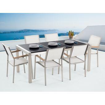 Beliani - Table de jardin acier inox - plateau granit triple ...