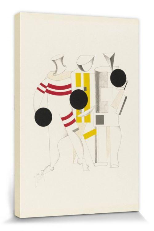 El Lissitzky Poster Reproduction Sur Toile, Tendue Sur Châssis - Victoire Sur Le Soleil, Athlètes, 1923 (120x80 Cm)