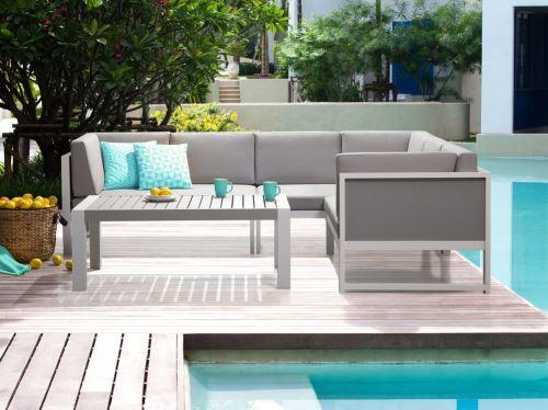 Beliani - Salon de jardin - Canapé d angle et table basse - aluminium - blanc et gris - Vinci