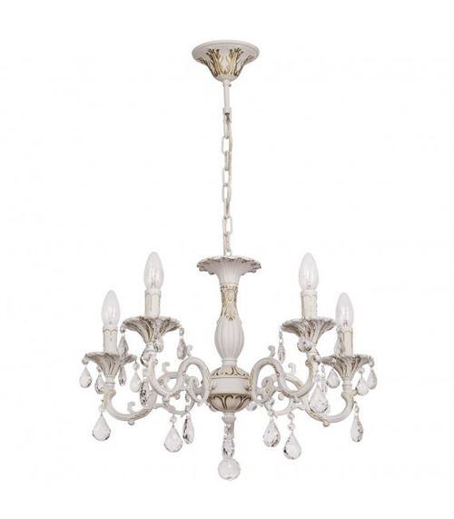 Chandelier blanc Classic 5 ampoules 81 Cm