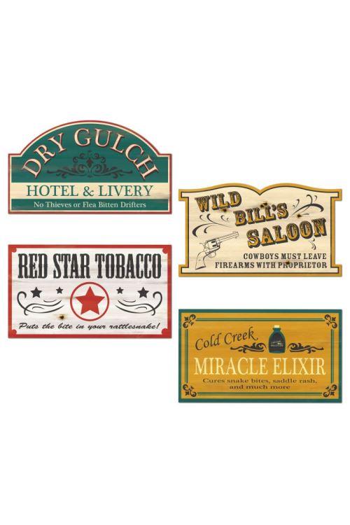Decor Panneaux Vieux Bar Western - Multicolores