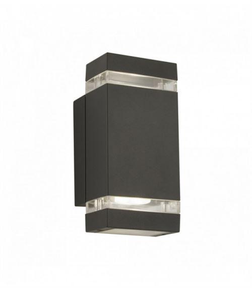 Applique extérieur à led, support mural haut-bas diffuseur transparent gris