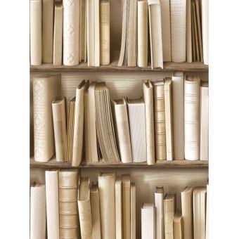 Papier Peint Livres Bibliotheque papier peint muriva bibliothèque naturel - décors et stickers
