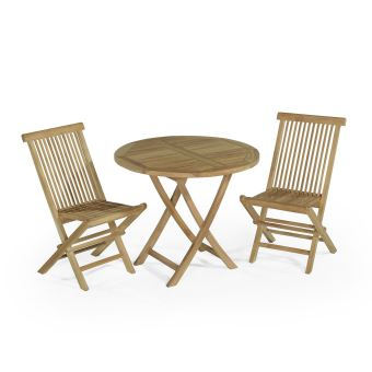 89€70 sur Salon de jardin en teck Ecograde Daru, table pliante ronde ...