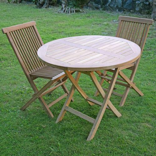 89€70 sur Salon de jardin en teck Ecograde Daru, table pliante ronde ...
