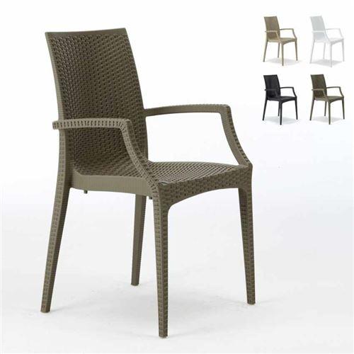 Grand Soleil - Chaises de jardin fauteuil accoudoirs bar café restaurants en Poly-rotin BISTRO ARM Grand Soleil, Couleur: Marron