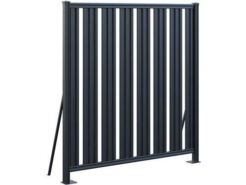 clôture acier jacques - 176 x 180 cm - gris foncé