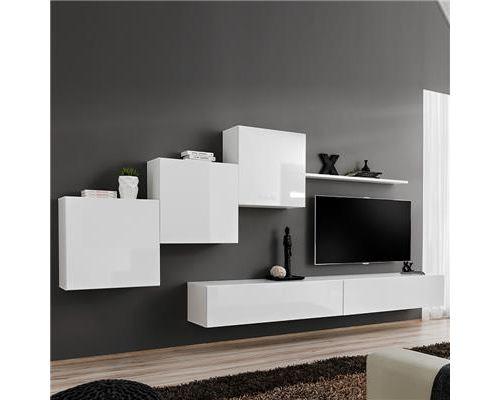 Meuble TV suspendu blanc DUCCIO 3-L 330 x P 40 x H 160 cm- Blanc