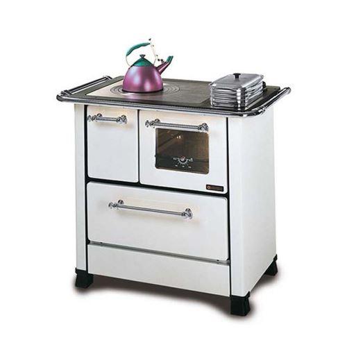Nordica Cuisinière à bois avec four 9.1 kW foyer en acier Blanche Romantica