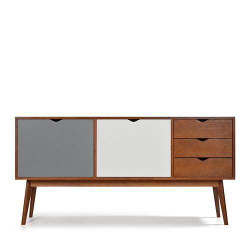 Buffet design 2 portes 3 tiroirs teinté noyer Ström - Couleur - Gris souris/Gris souris