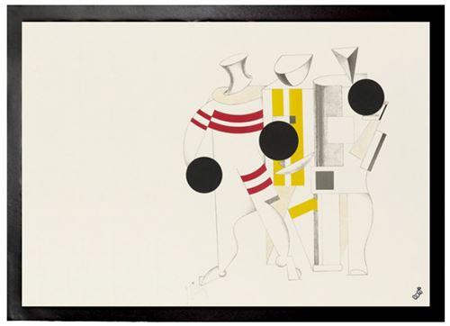 El Lissitzky Paillasson Essuie-pieds - Victoire Sur Le Soleil, Athlètes, 1923 (50x70 Cm)