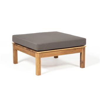 Table Basse De Jardin Et Repose Pieds En Acacia Fsc Avec Coussin Kaki 75x75 Cm Lewa Vert