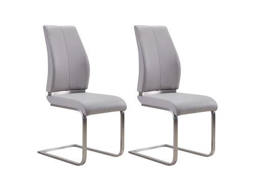 Lot de 2 chaises SALMA - Simili - Gris