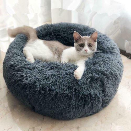 OHP Chat lit maison doux long en peluche chien lit nid hiver chaud lit de couchage chiot 60cm Gris Foncé