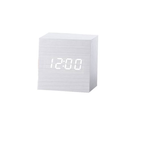 Nouveau Led Numérique en Bois Moderne en Bois Bureau Réveil Thermomètre Calendrier Minuterie Blanc PL202