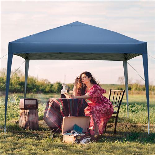 3 x 3 m Tonnelle de Jardin Pliable Tente de Jardin Protection UV pour Mariage,fête,Camping Bleu