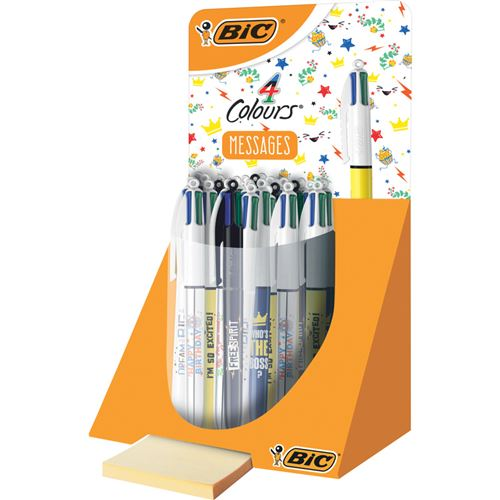bic bic stylo à bille rétractable 4 colours messages, présentoir noir