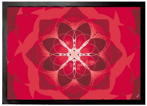 Mandalas Paillasson Essuie-Pieds - Rouge, Force Énergie, Amour Et Passion (70x50 cm)