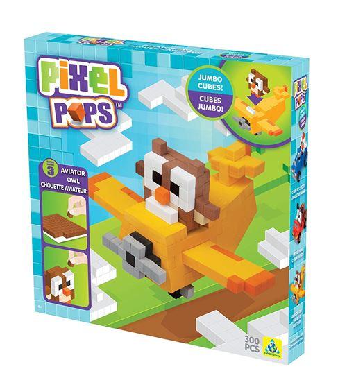 Orb Factory ORB73565 - Loisirs Créatifs - Personnage Pixel 3D à Construire - Aviateur Hibou - Pixelpops