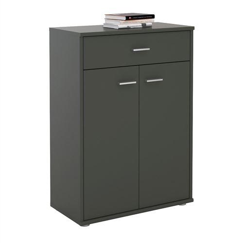 Buffet CALAIS, commode meuble de rangement avec 1 tiroir et 2 portes, en mélaminé gris mat