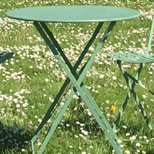 Pliable Salon Vert 2 Bistrot De En Jardin Fer Chaises Table 1JF3KuTcl
