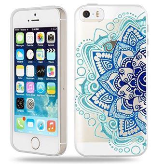 Coque iphone 5 5S SE Mandala 2 Aztec ethnique Fleur Bleu doodling transparente