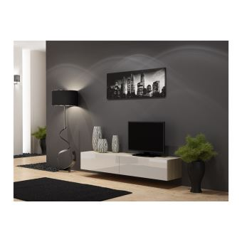 meuble tv design suspendu vito 180cm bois et blanc meuble tv achat prix fnac. Black Bedroom Furniture Sets. Home Design Ideas