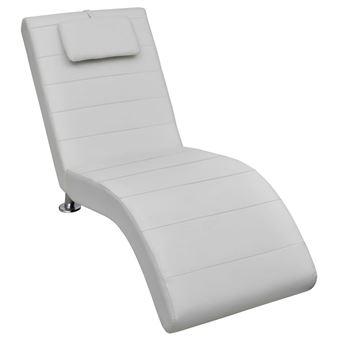 Chaise Longue Blanche Avec 2 Pieds Et Appui Tete