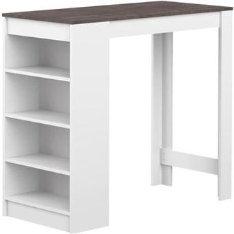 Table De Bar Avec Rangement table de bar avec rangements piètement blanc plateau effet béton