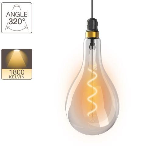 Ampoule LED poire - culot E27 - vintage torsade