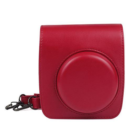 Étui en cuir PU antichoc pour Fujifilm Instax Mini 90 - Rouge