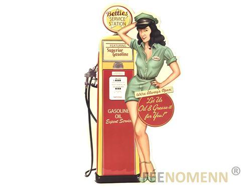 plaque métal déco vintage - effet relief - station service gas and oil (30x40cm)